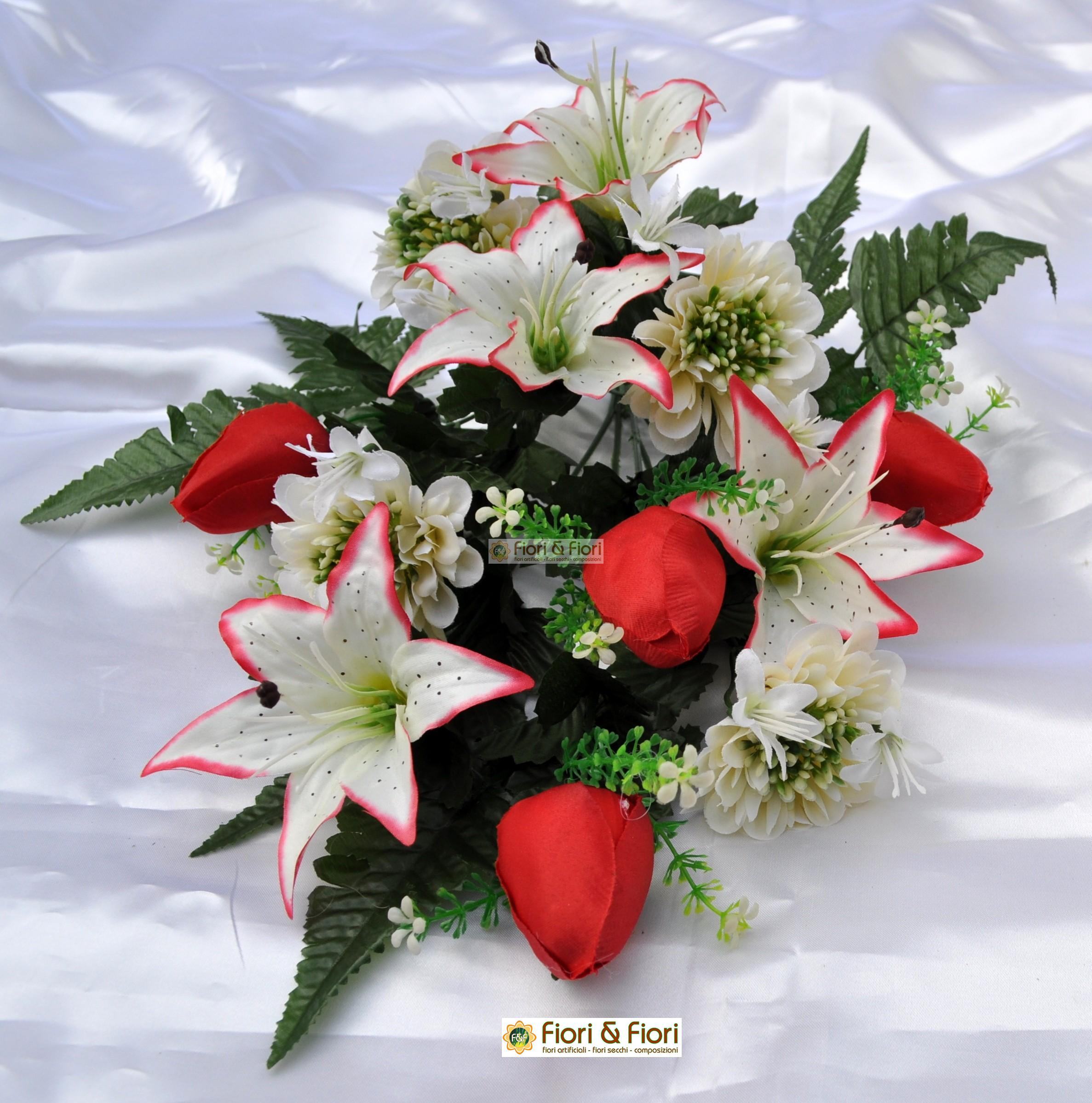 Bouquet fiori artificiali zinnia bianco per esterno for Fiori artificiali