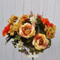 Bouquet fiori finti Dalia country arancio
