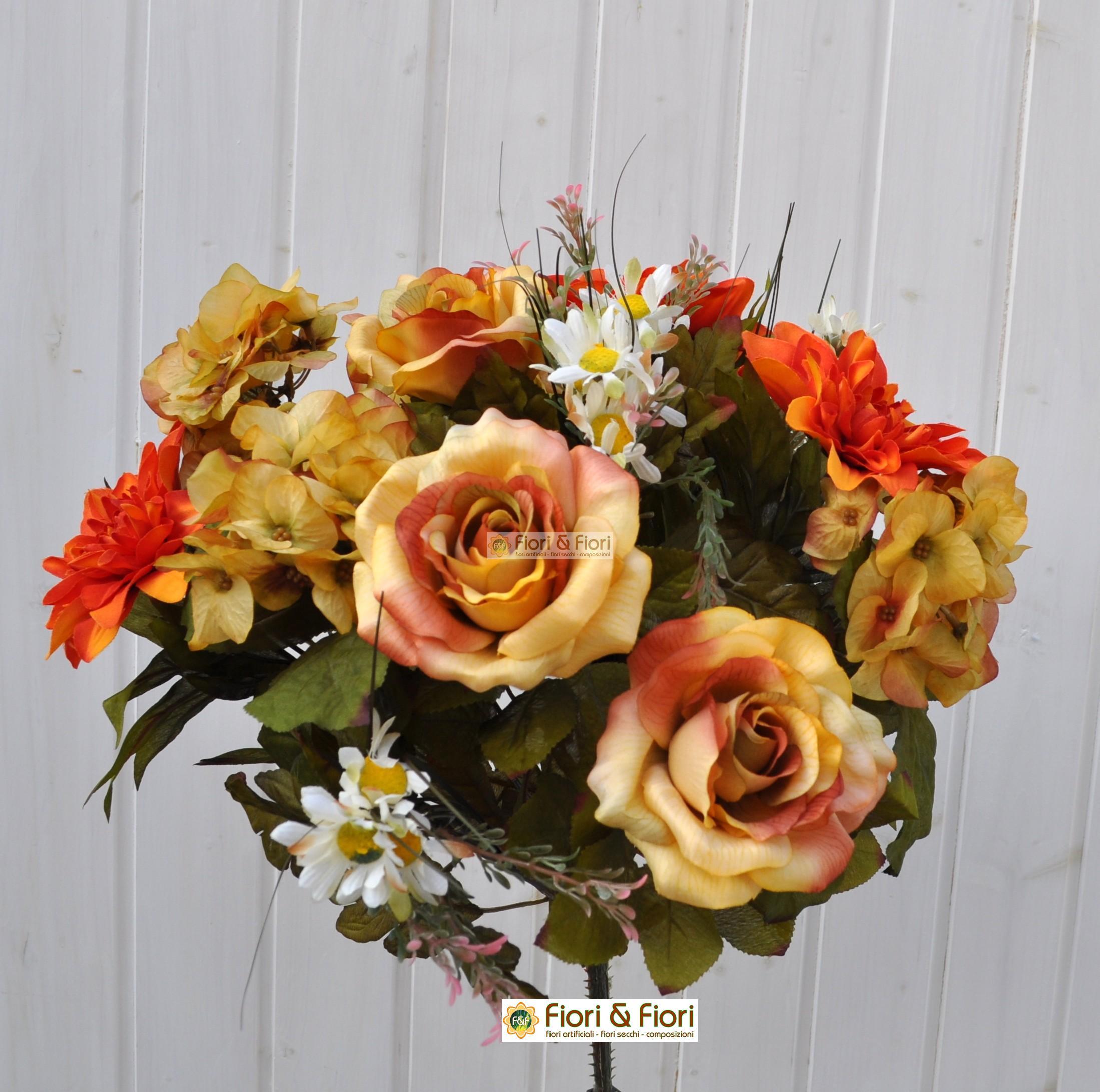 bouquet fiori finti dalia country arancio in tessuto satinato