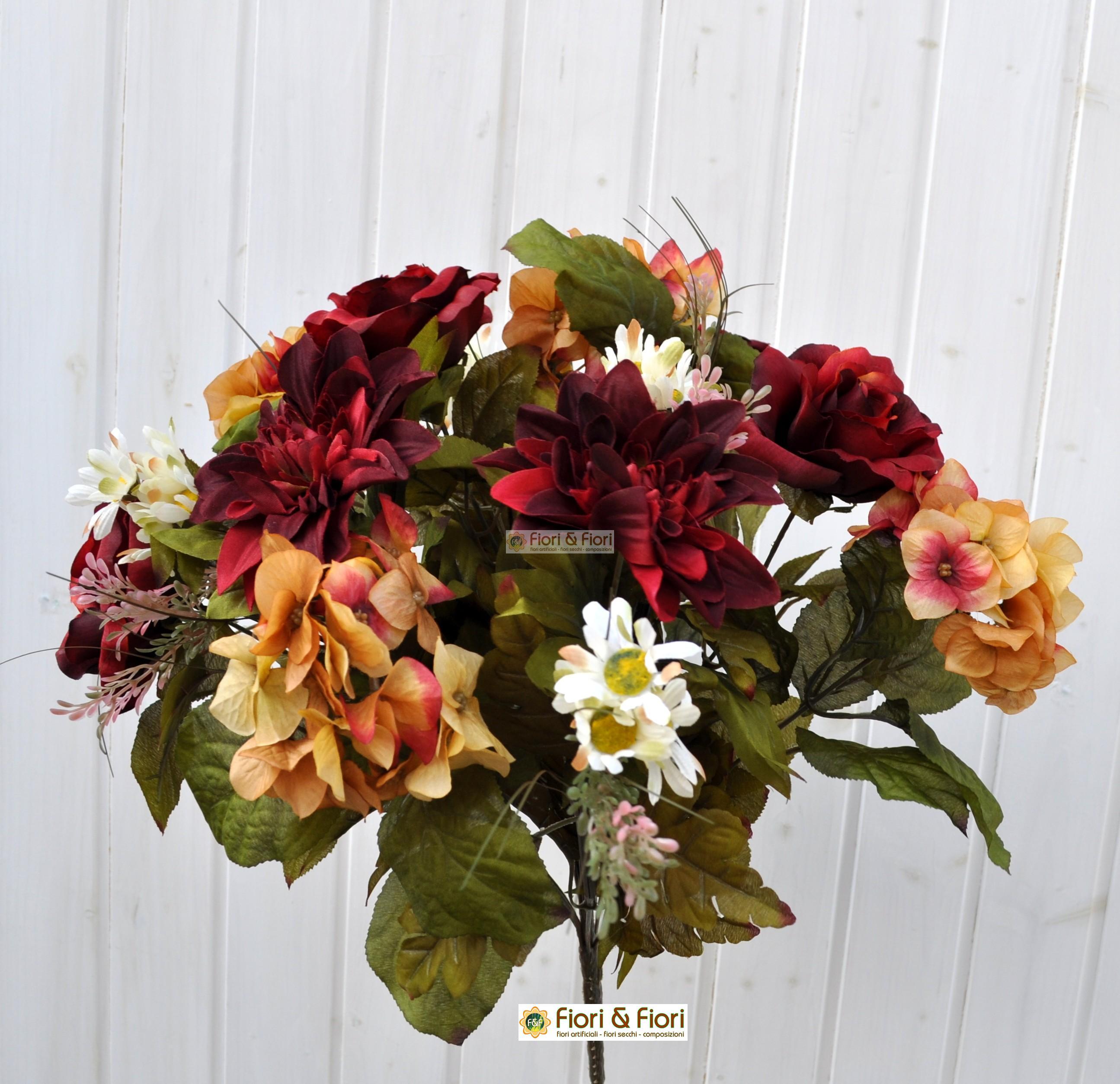 Fiori finti dalia country rosso in tessuto satinato for Arredare con fiori finti