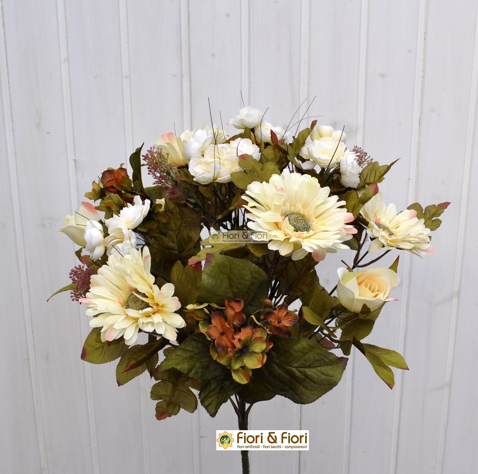 Bouquet fiori artificiali country bianco for Fiori artificiali