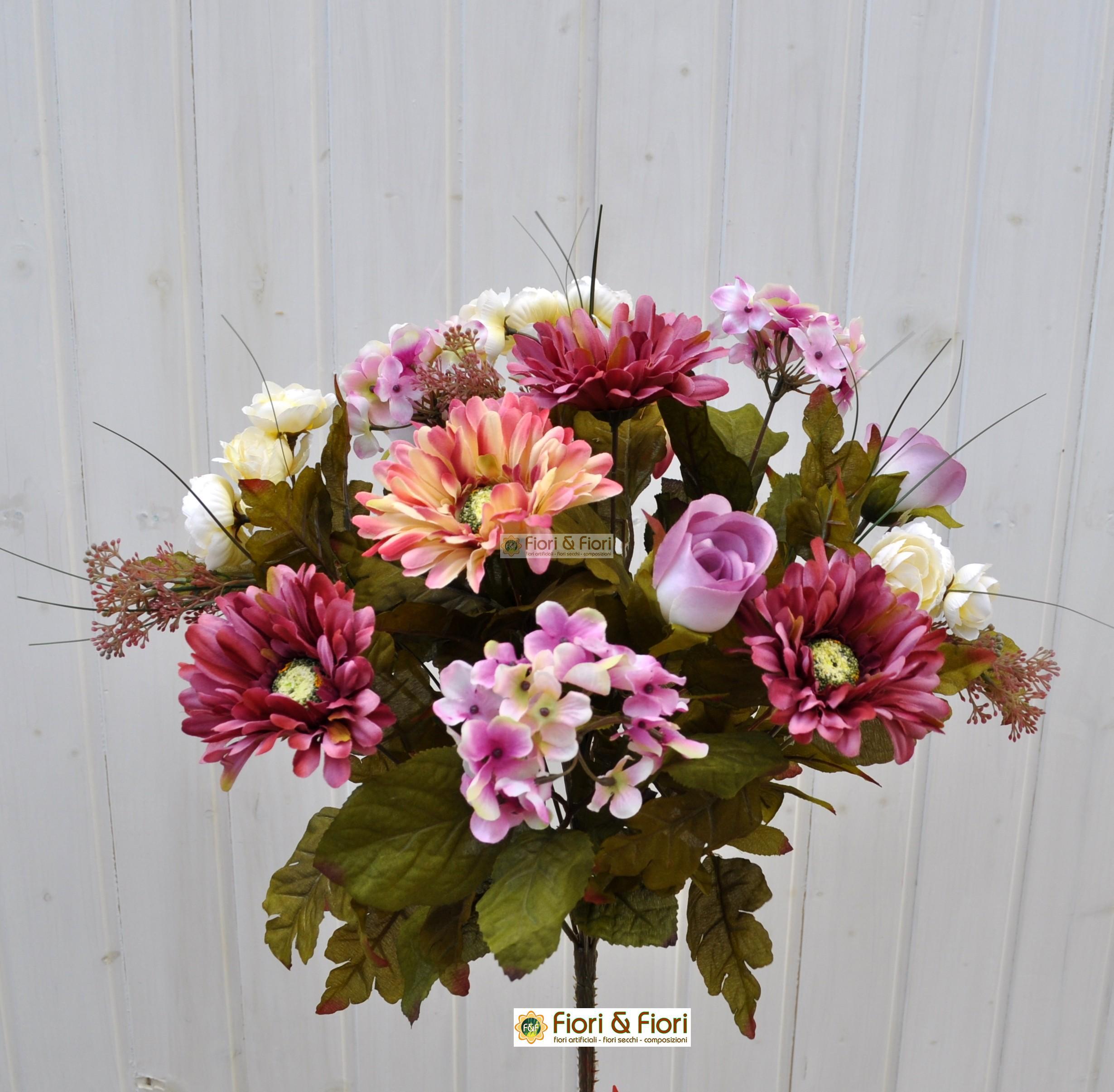 Fiori Artificiali.Bouquet Fiori Artificiali Country Rosa