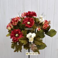 Bouquet fiori artificiali country rosso