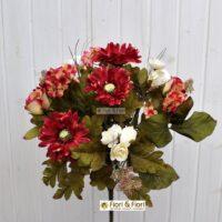 Bouquet fiori artificiali country rosso