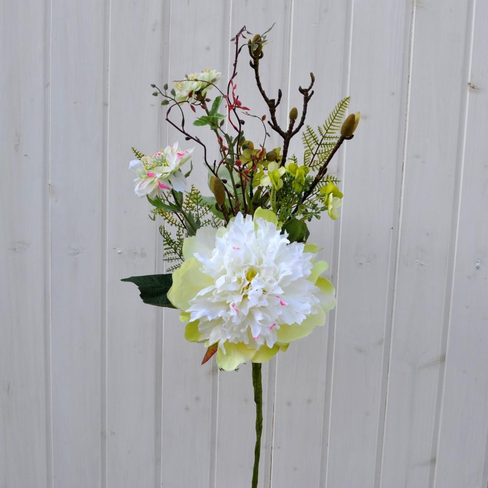 Fiori artificiali peonia bianco per uso esterno fiori fiori for Fiori per esterno