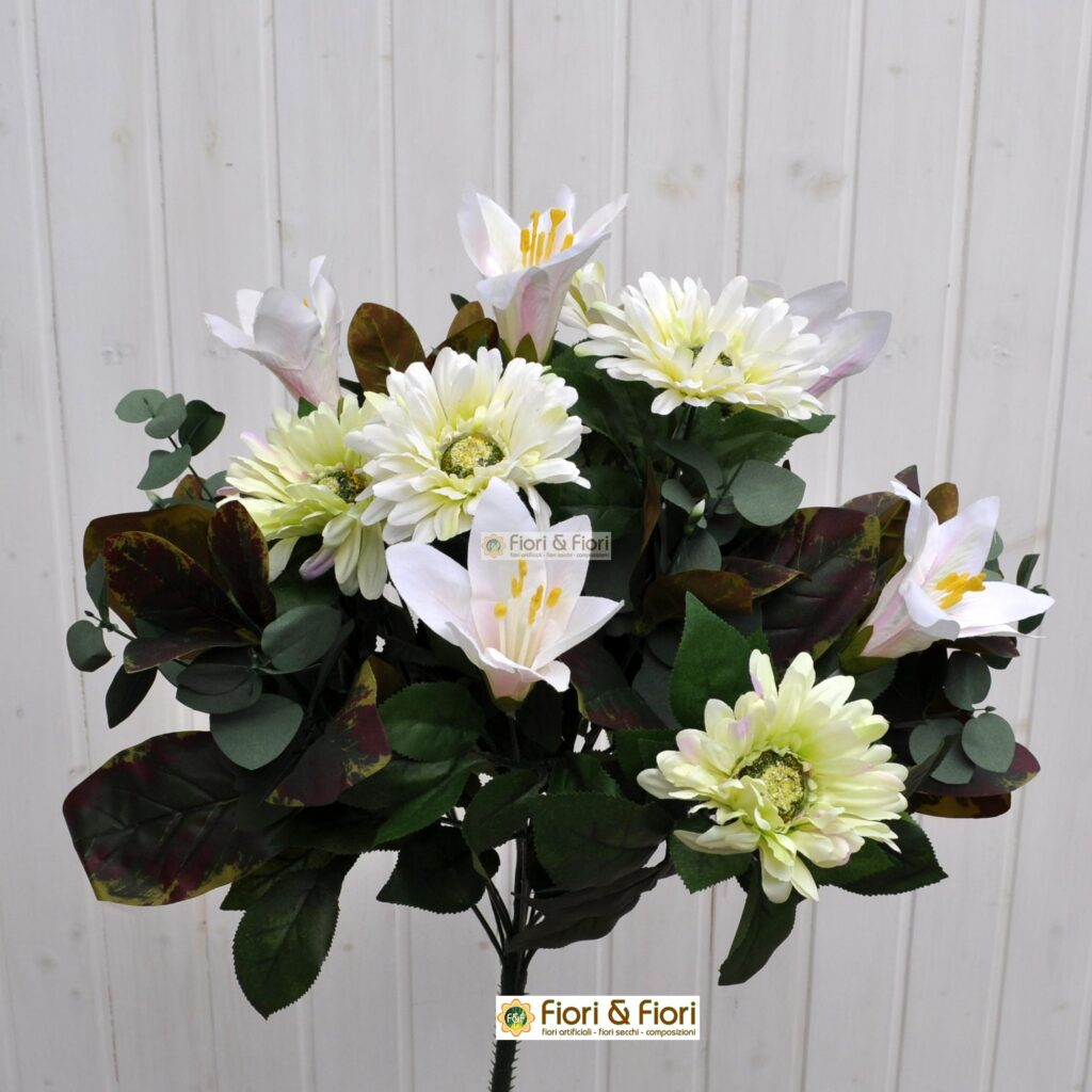 Decorazioni Natalizie Con Foglie Di Magnolia.Fiori Artificiali Gerbera Giglio Bianco In Tessuto Lavabile
