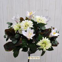 Bouquet fiori artificiali gerbera giglio bianco