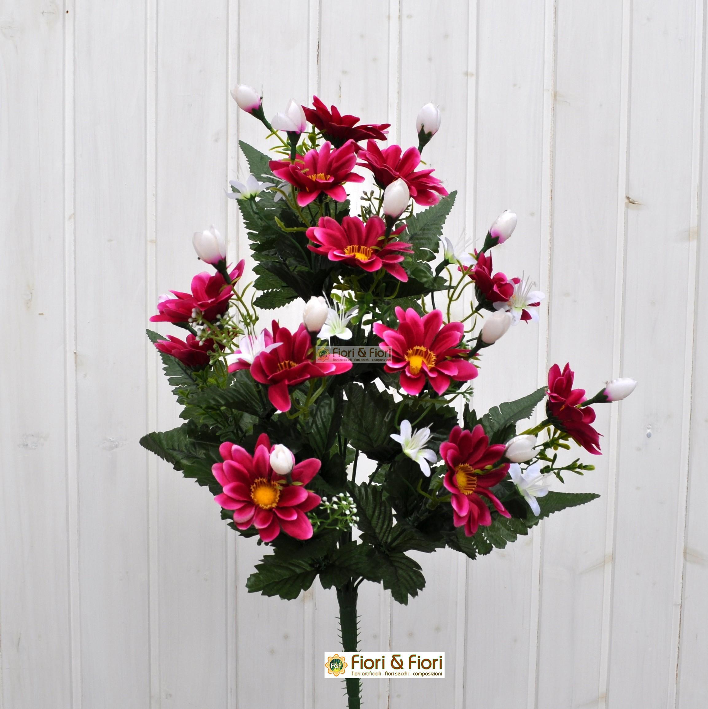 Bouquet fiori artificiali gerberina fucsia per cimitero for Fiori artificiali
