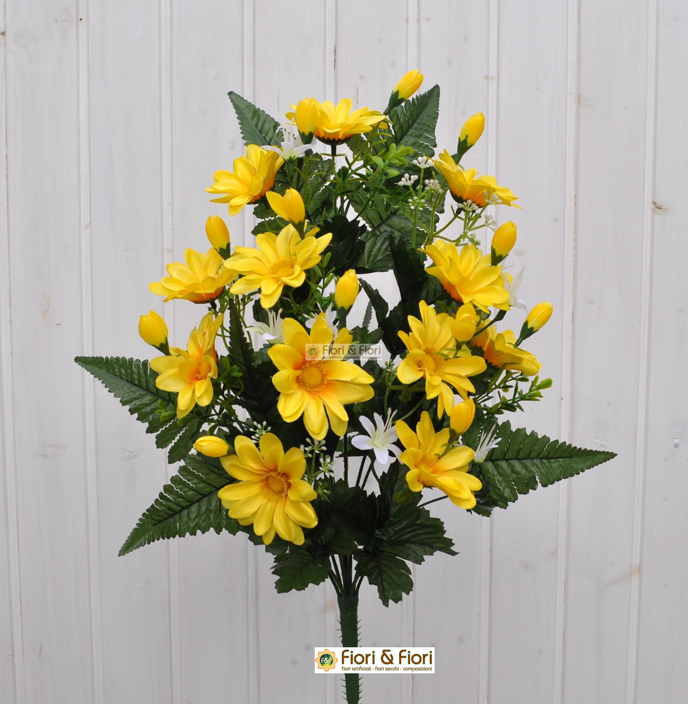 Fiori artificiali gerberina giallo per cimitero for Fiori artificiali
