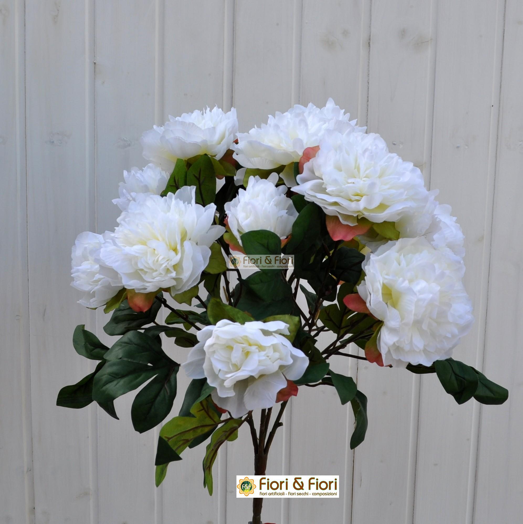fiori artificiali peonia tudor bianco