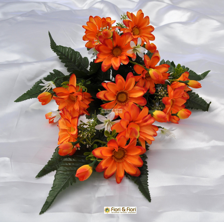 Fiori artificiali gerberina arancio per cimitero for Fiori artificiali