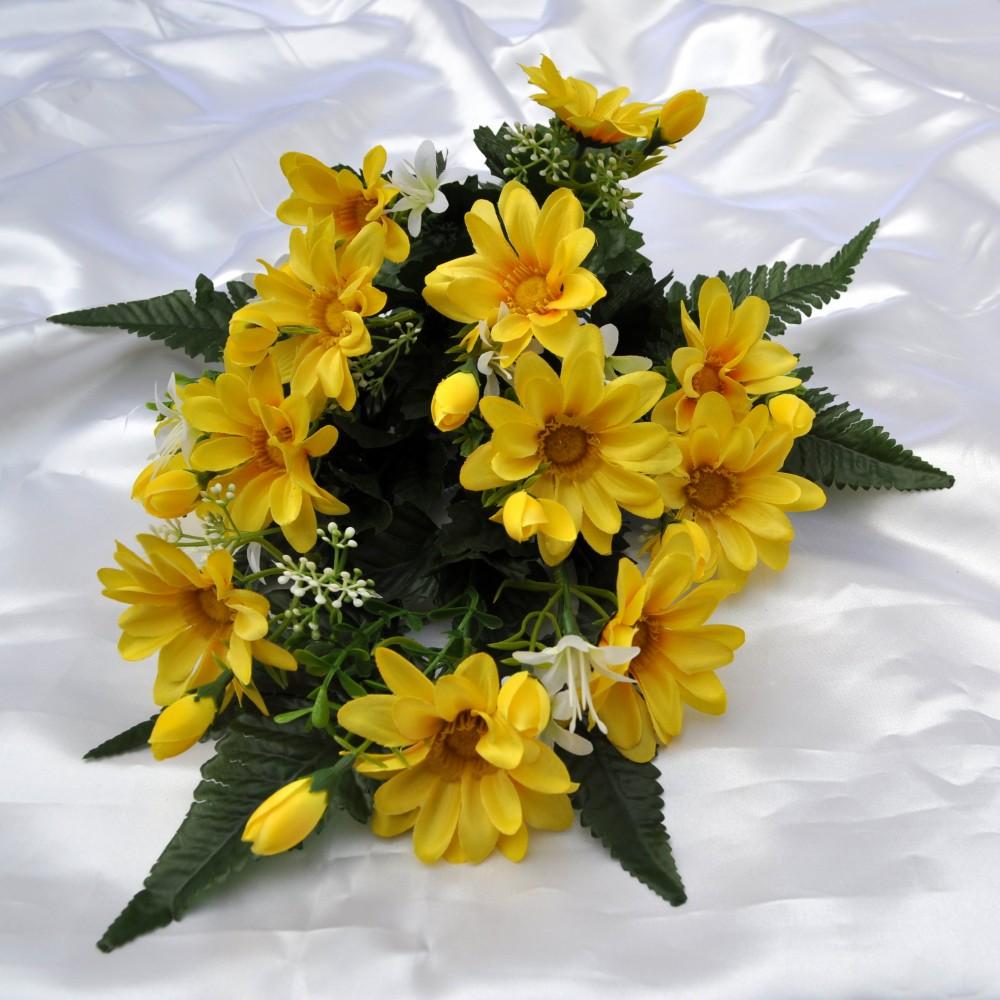 Fiori artificiali gerberina giallo per cimitero fiori fiori for Fiori artificiali