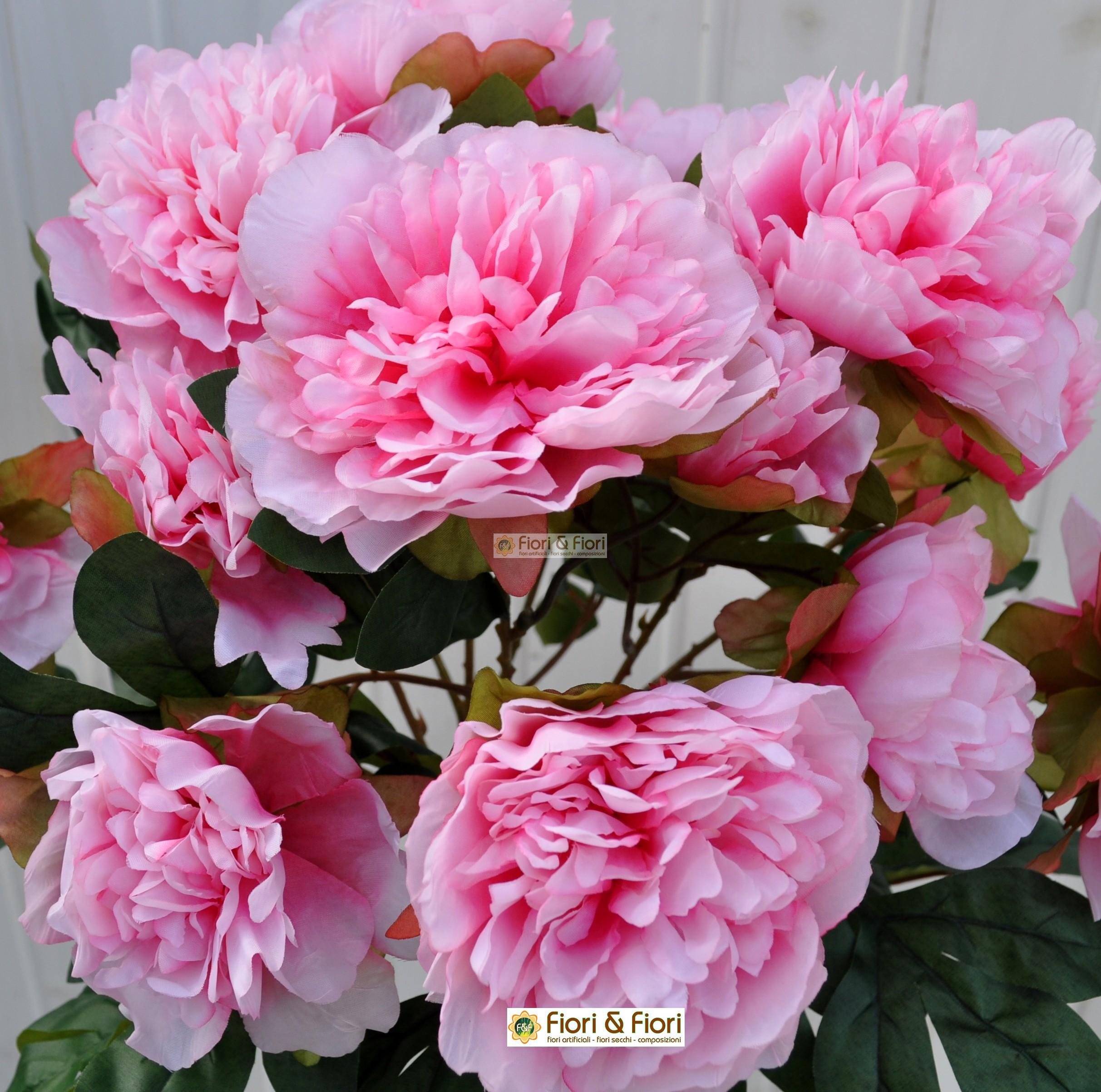 Fiori artificiali Peonia Tudor rosa per uso esterno