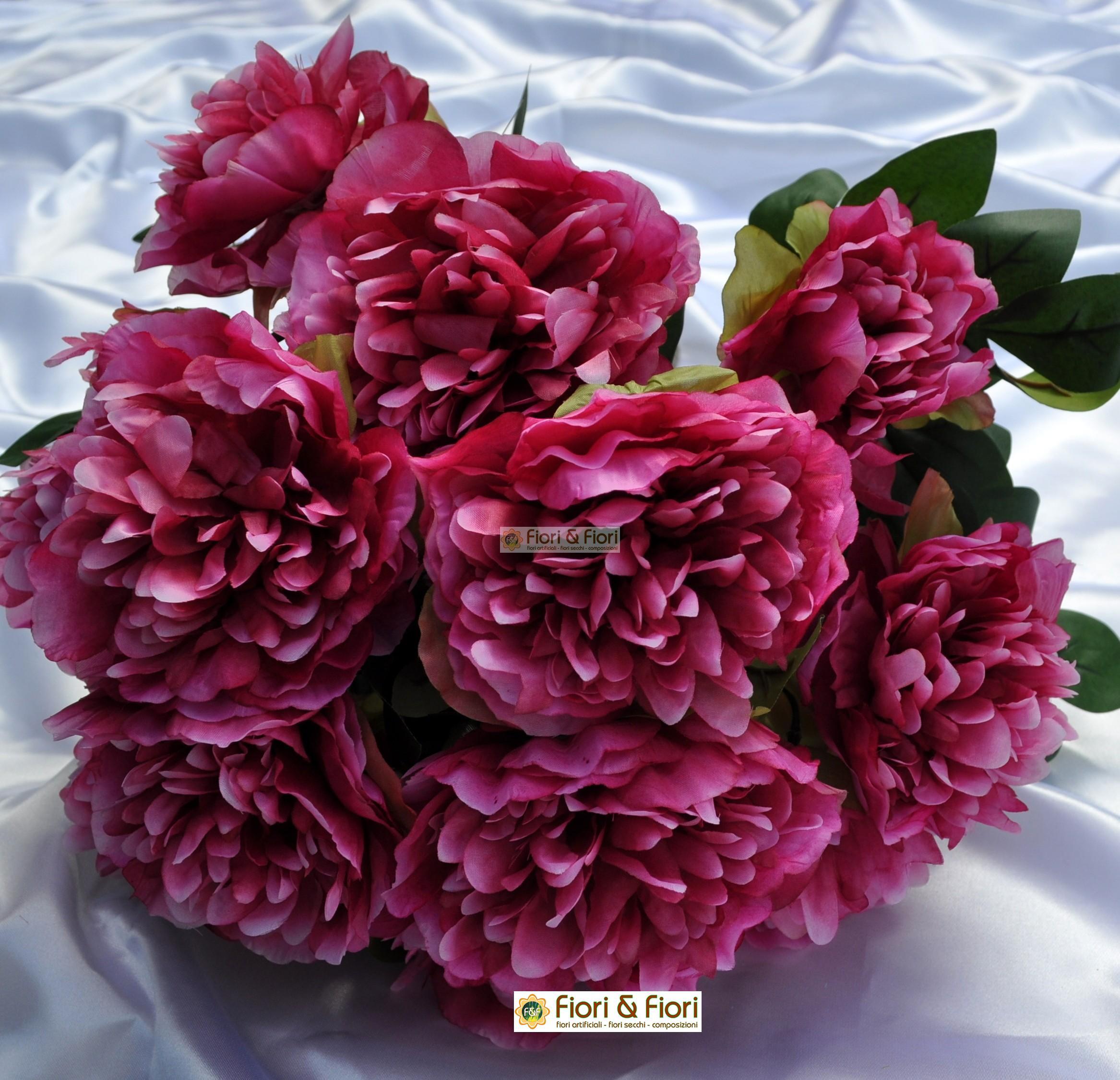fiori artificiali Peonia Tudor in tessuto lavabile per uso ...