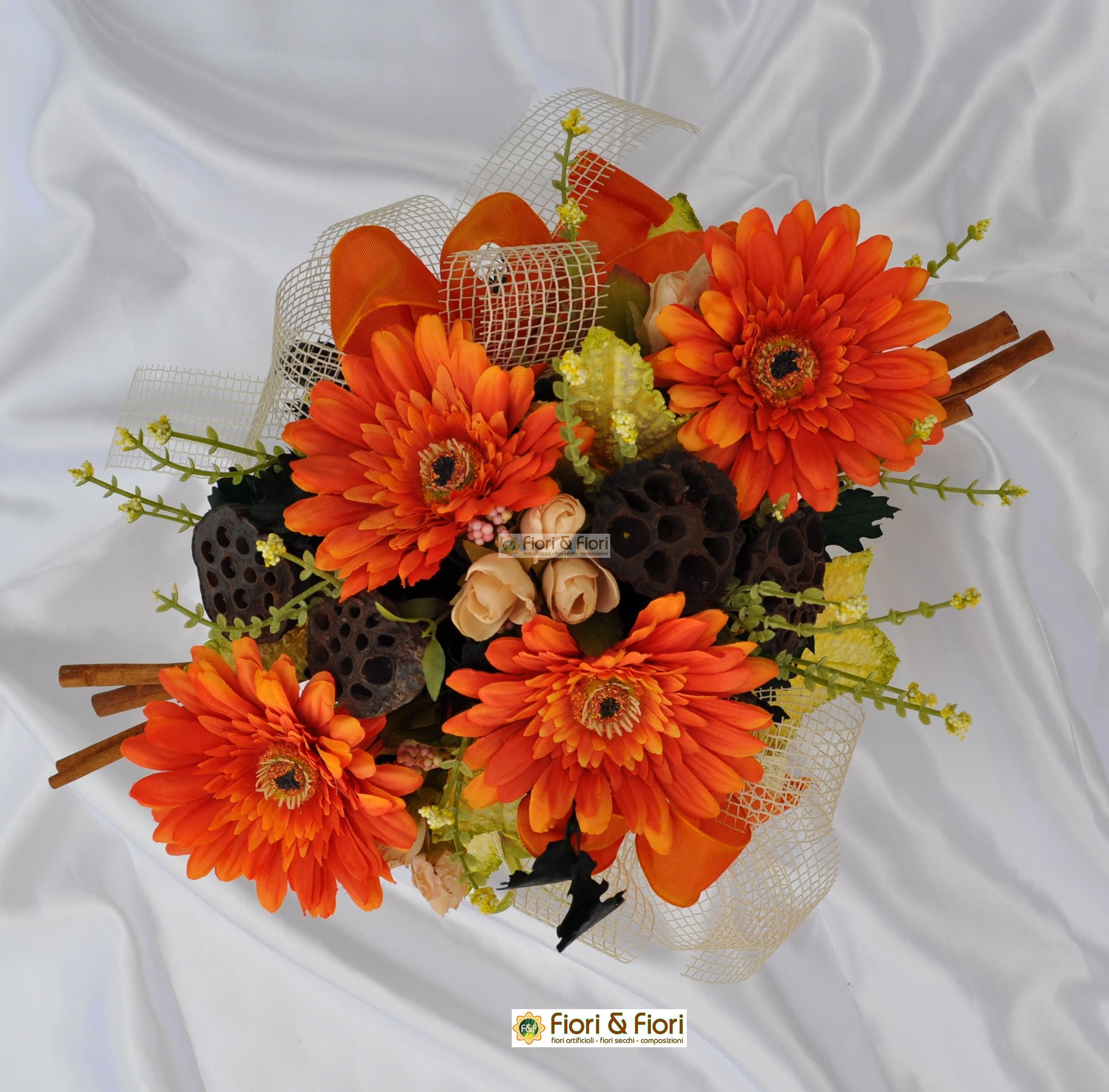 Composizione fiori artificiali gaia arancio for Fiori artificiali