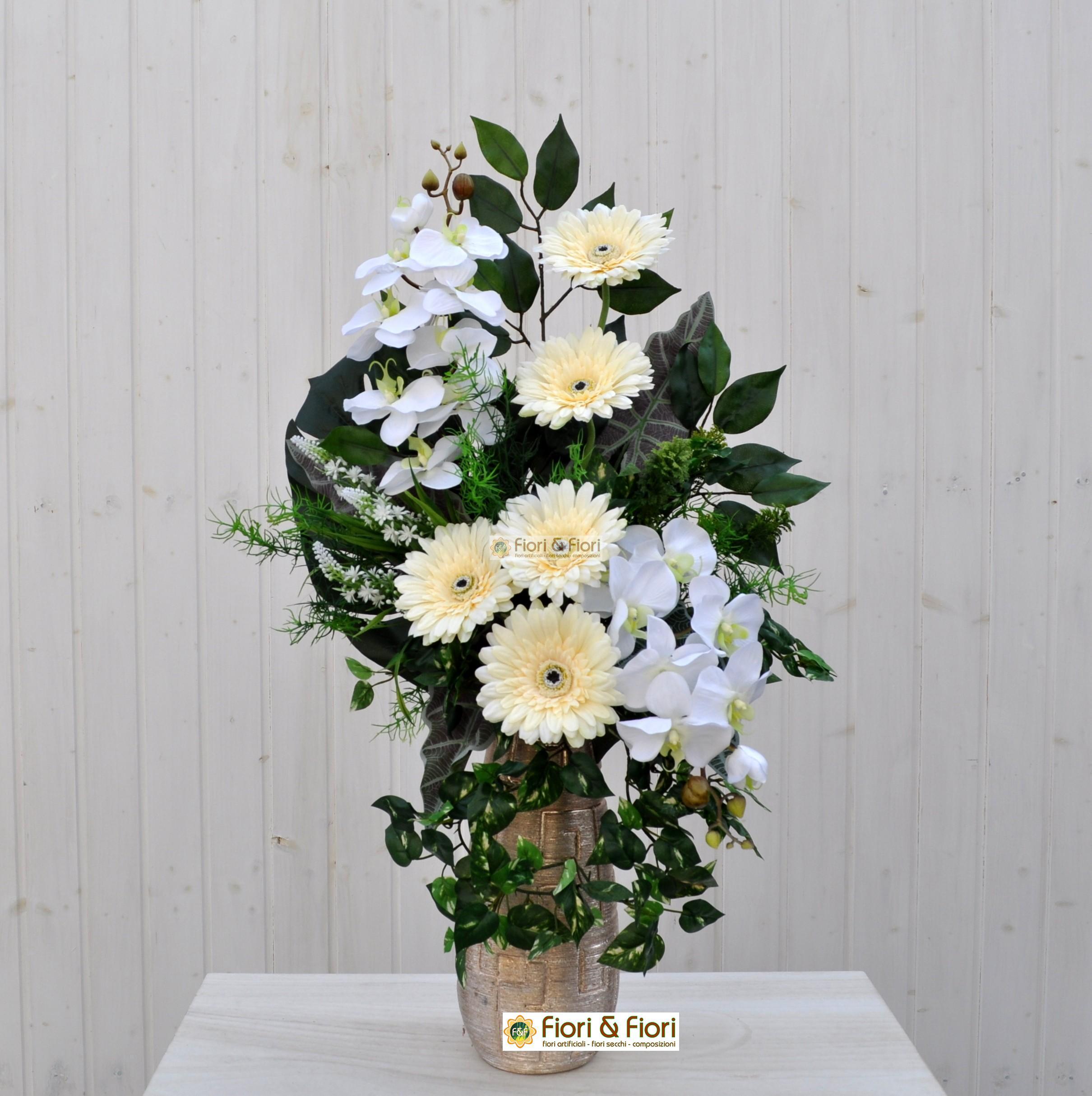 Bouquet Fiori Artificiali Gerbera Bianco Per Cimitero