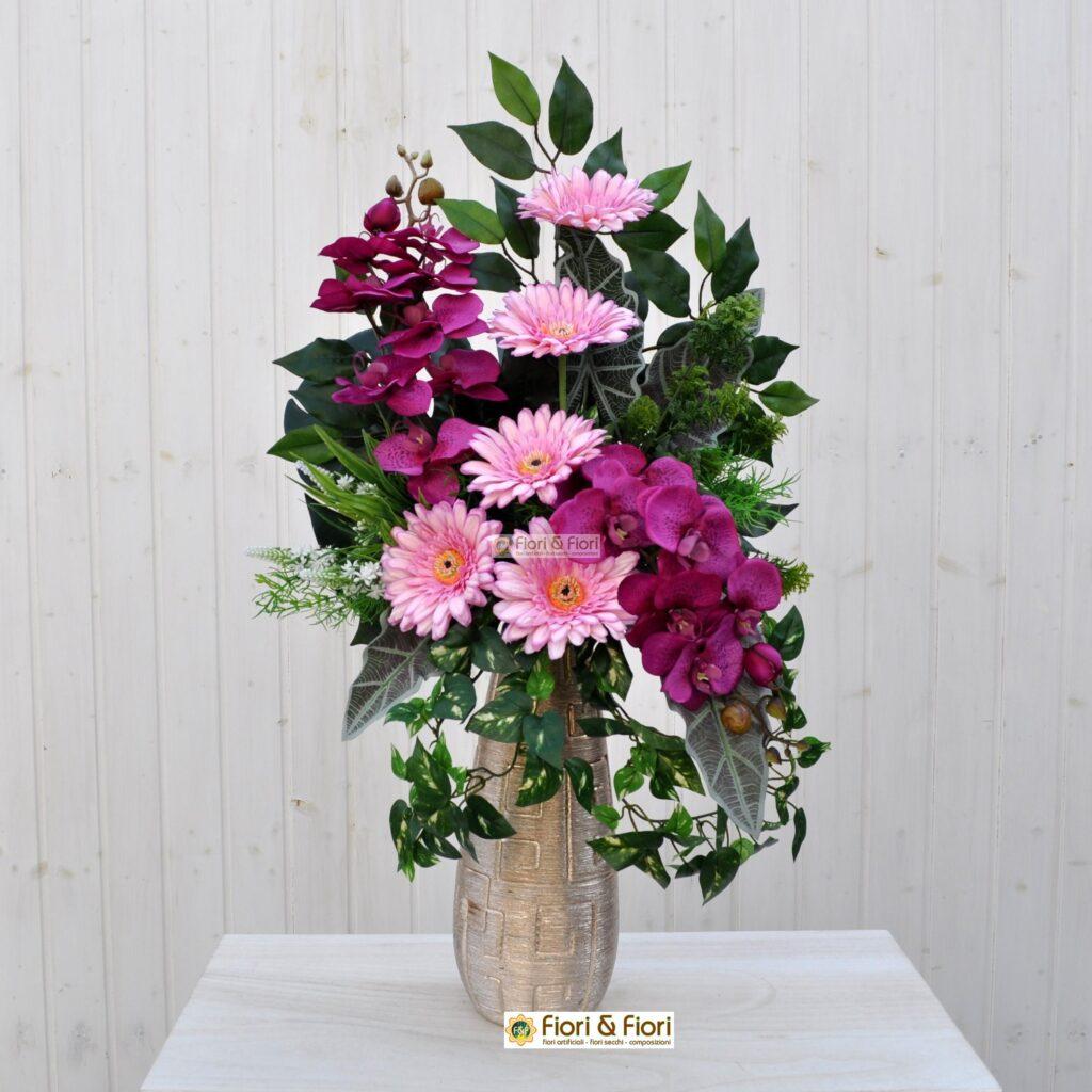 Bouquet Fiori Artificiali Gerbera Rosa In Tessuto Lavabile