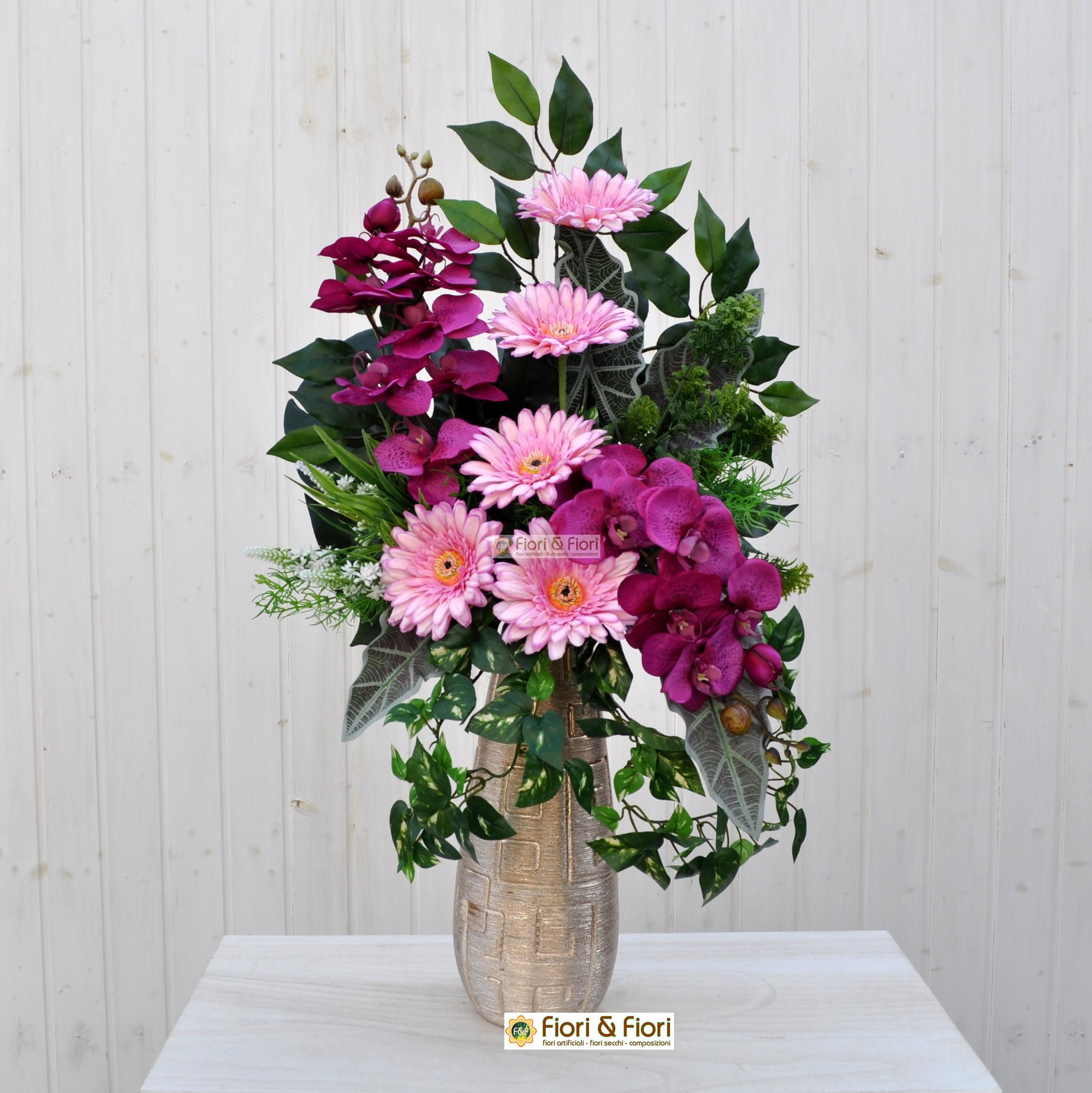 Bien-aimé Bouquet fiori artificiali Gerbera rosa per cimitero FM22