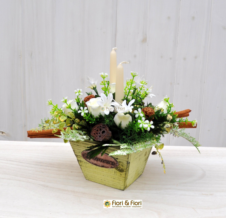 Composizione fiori artificiali christmas per decorazioni for Composizioni fiori finti per arredamento