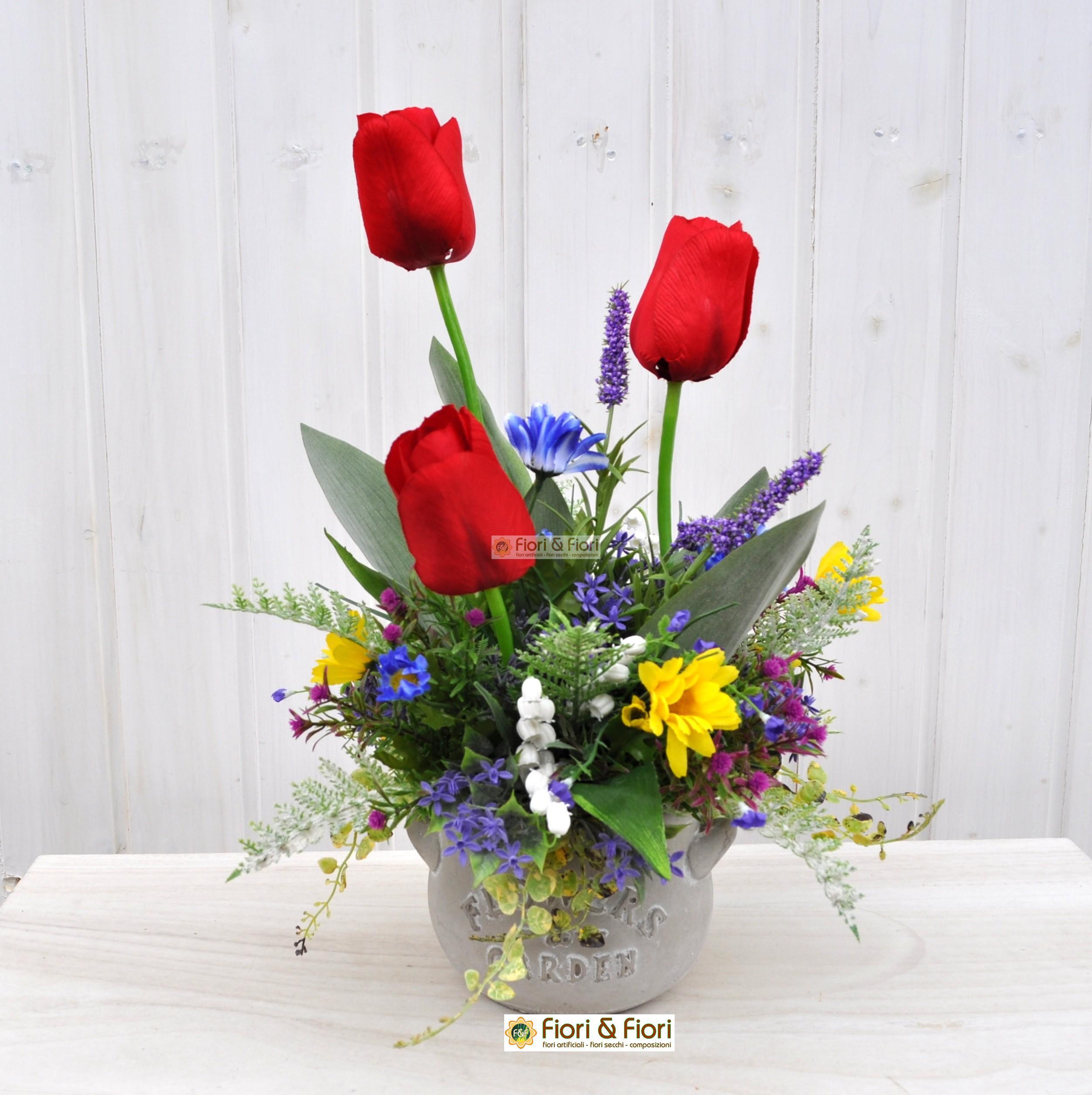 Composizione fiori artificiali lisette per arredo for Fiori artificiali