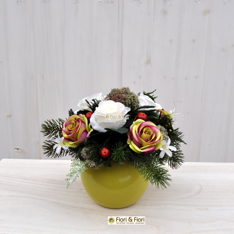 Composizione fiori artificiali rosalinda per decorazioni - Decorazioni fiori finti ...