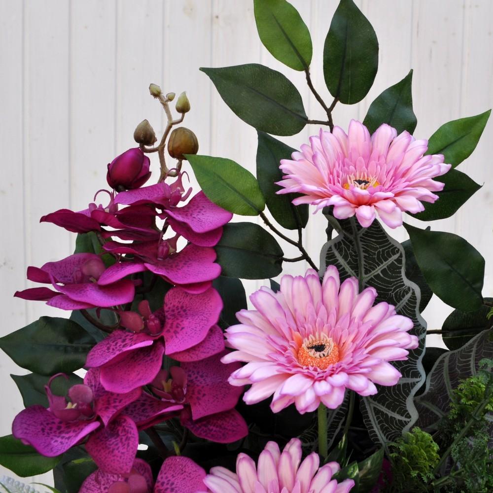 Bouquet fiori artificiali gerbera rosa per cimitero fiori for Fiori artificiali