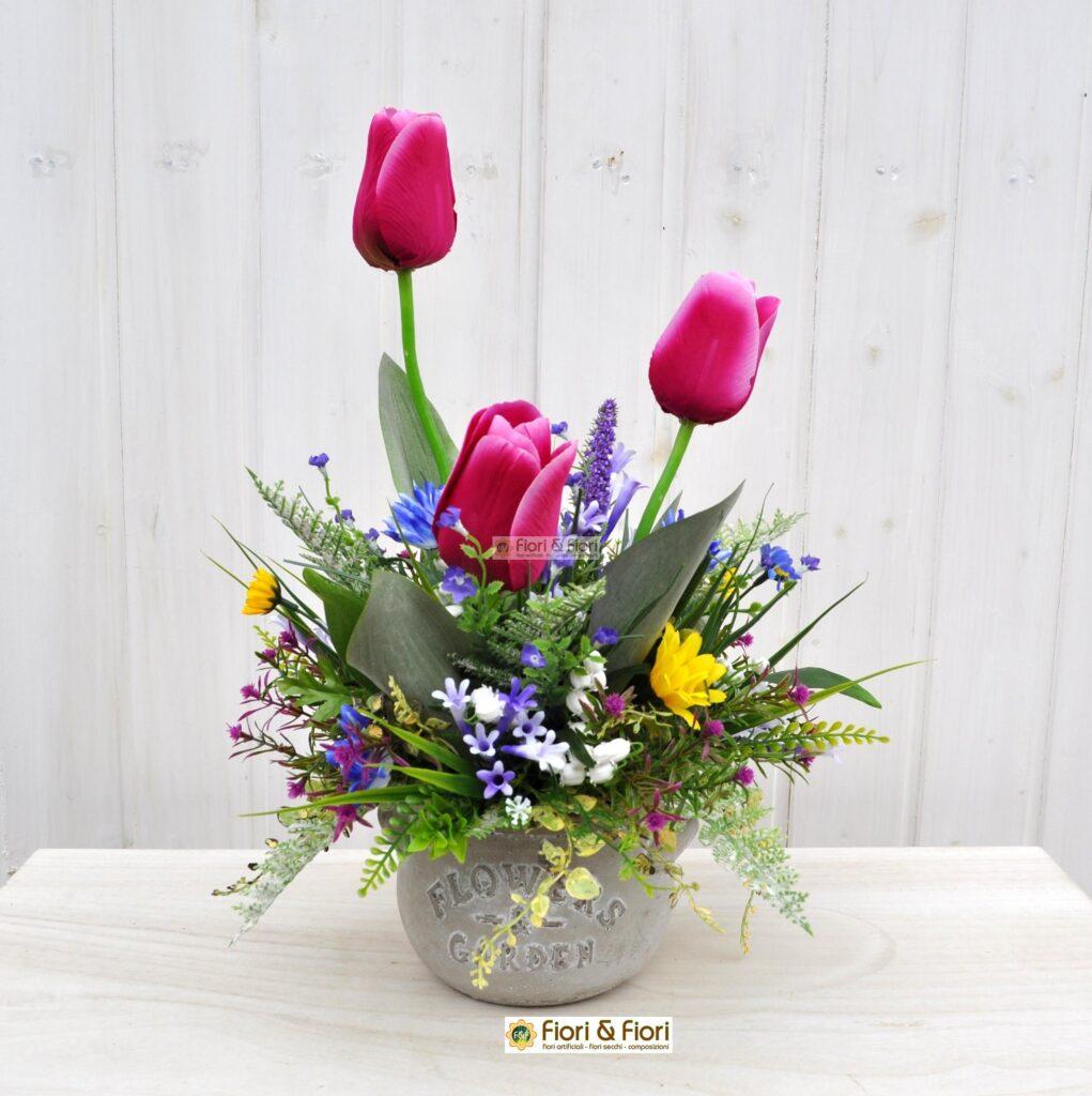 Composizione fiori artificiali lisette fucsia per for Composizioni fiori finti per arredamento