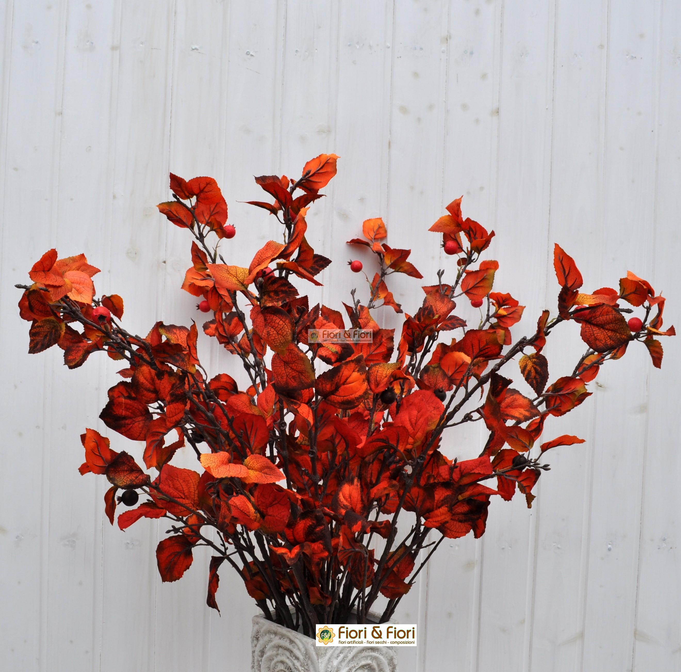 Foglia rosa artificiale rossa per arredamento for Composizioni fiori finti per arredamento