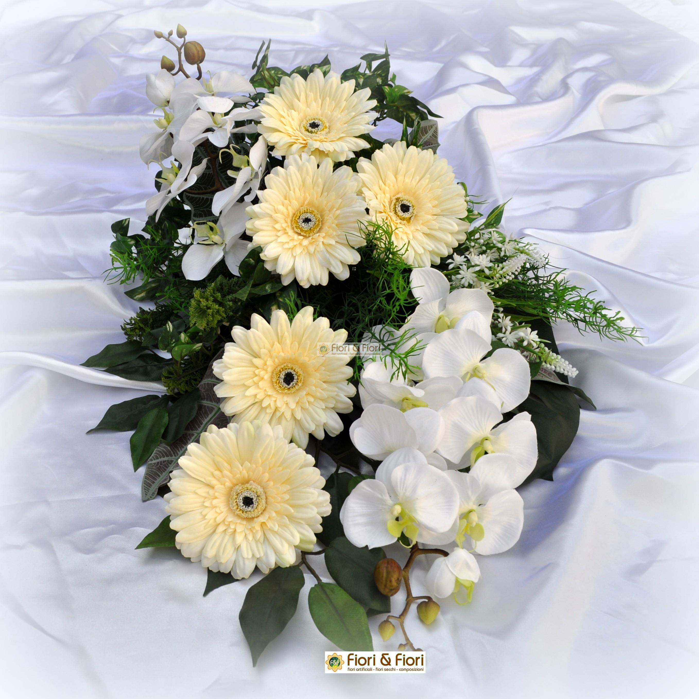 Eccezionale Bouquet fiori artificiali gerbera bianco per cimitero LC64