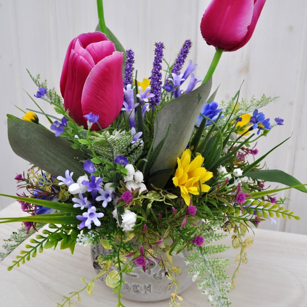 Composizione fiori artificiali lisette fucsia per for Fiori artificiali