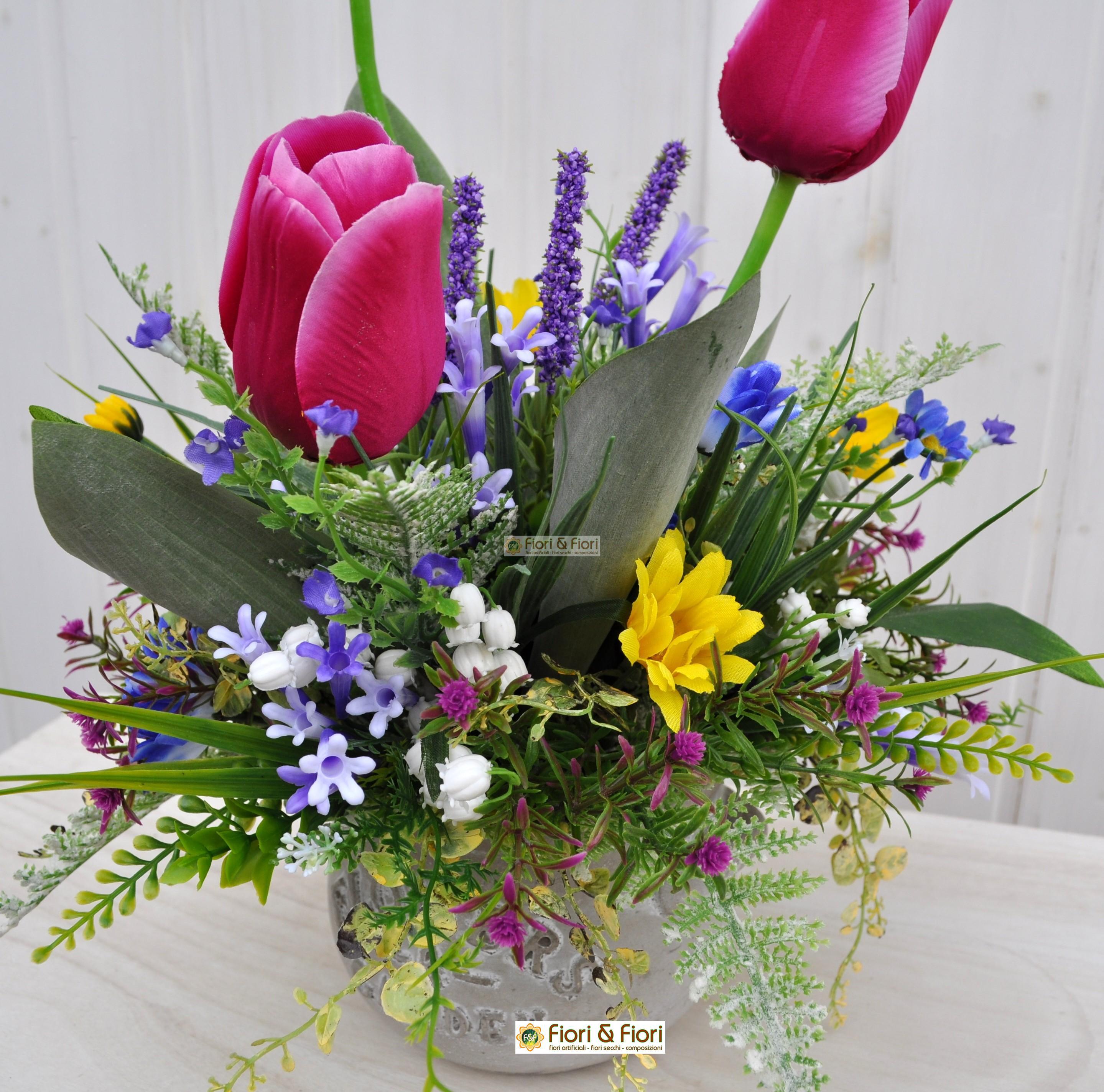 Composizione fiori artificiali lisette fucsia per arredamento for Composizioni fiori finti per arredamento