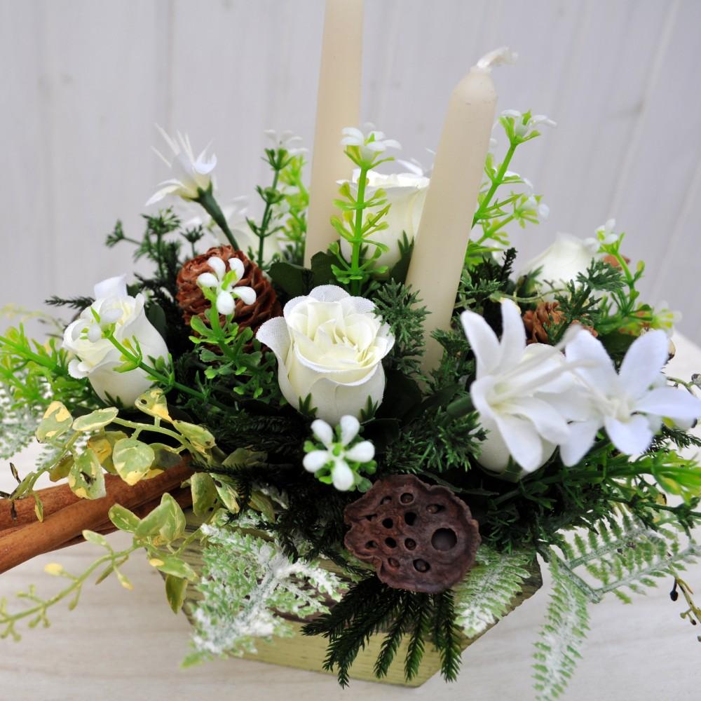 Composizione fiori artificiali christmas per decorazioni - Decorazioni fiori finti ...