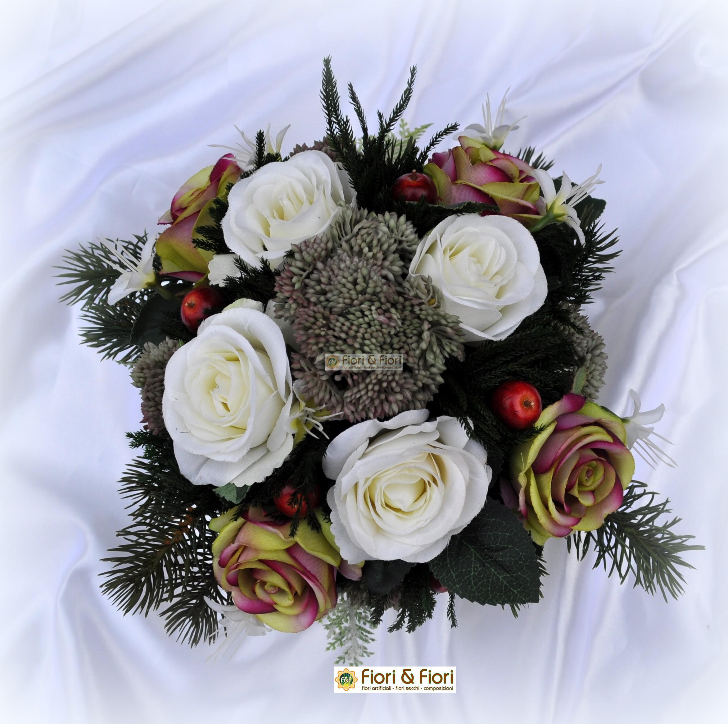 Ben noto Composizione fiori artificiali rosalinda per decorazioni WD92