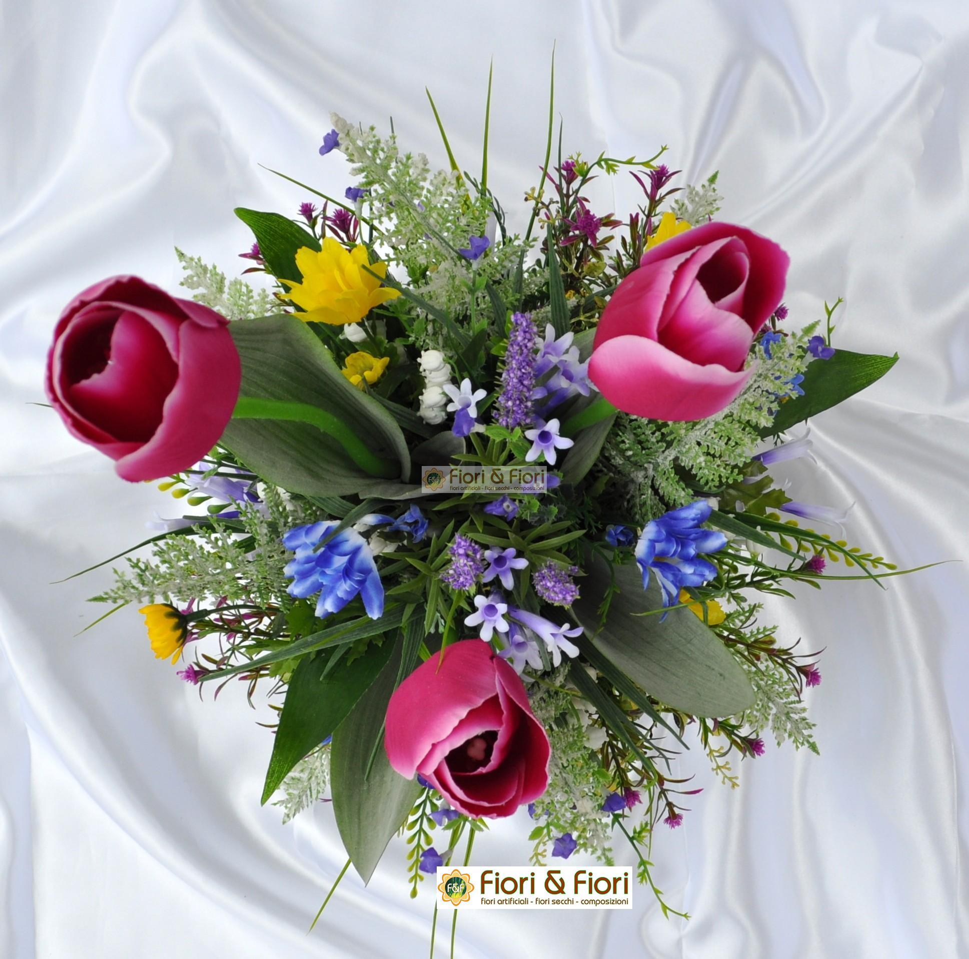 Composizione fiori artificiali lisette fucsia per arredamento for Fiori artificiali