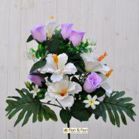 Bouquet fiori artificiali Hibiscus bianco