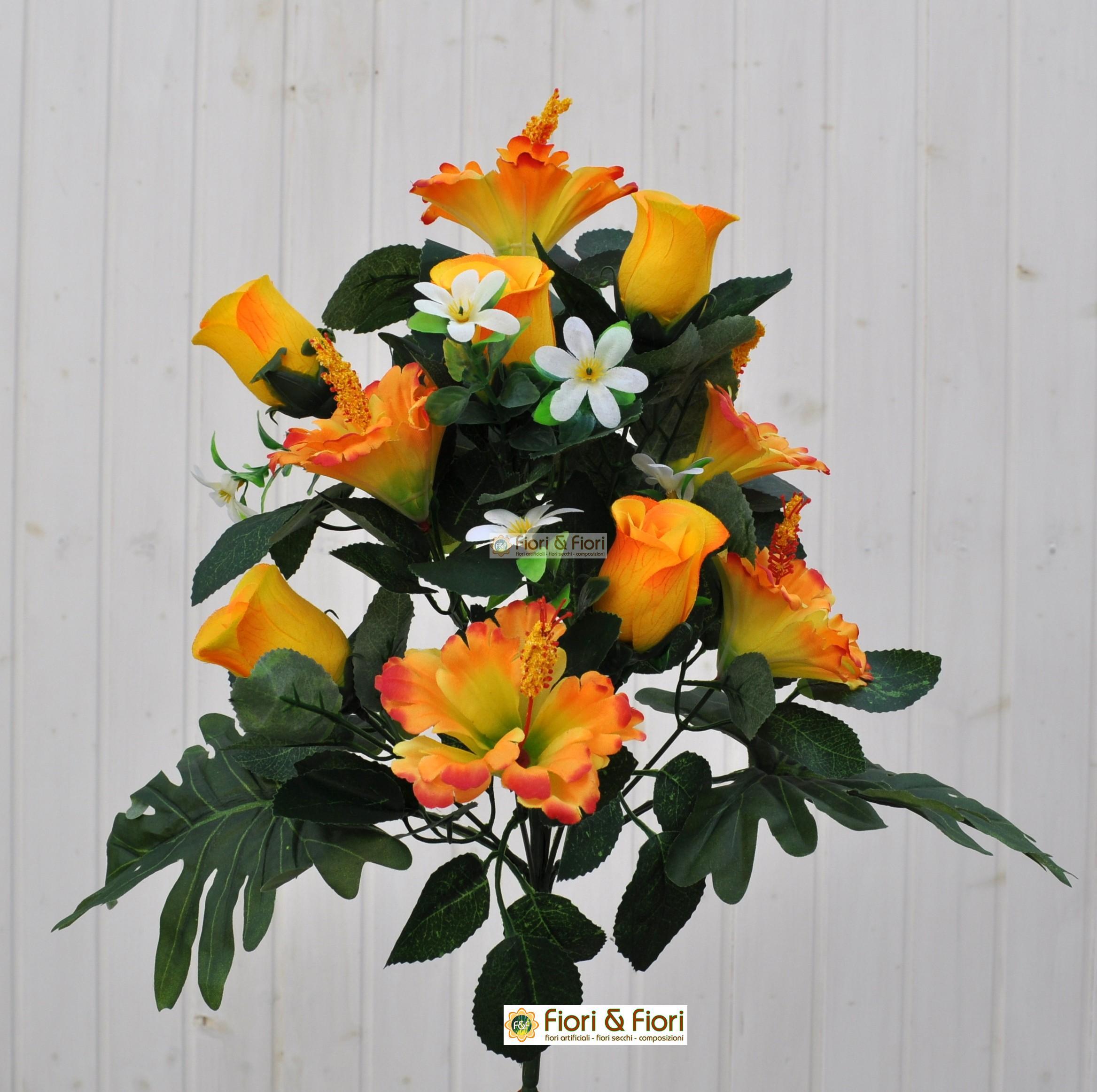 Fiori artificiali hibiscus giallo per esterno in tessuto for Fiori per esterno