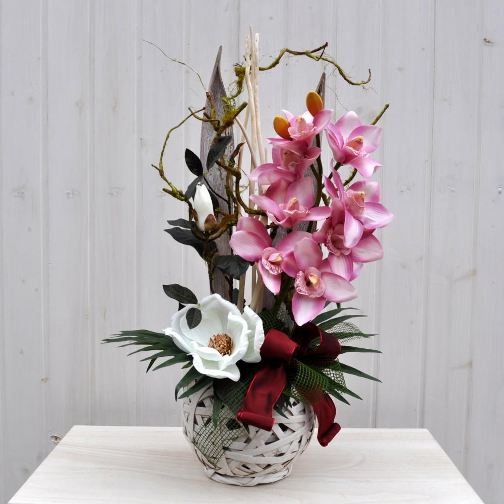 Composizione fiori artificiali jacqueline per arredamenti - Centrotavola natalizi con fiori finti ...
