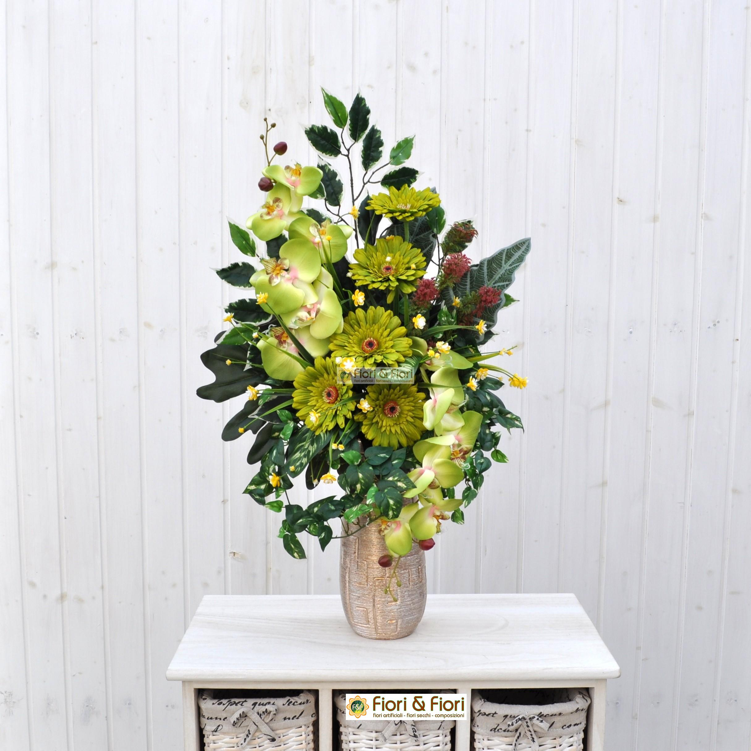 Mazzo Di Fiori Verdi.Bouquet Fiori Artificiali Gerbera Verde Per Cimitero In Materiale