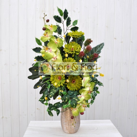 Bouquet fiori artificiali gerbera verde