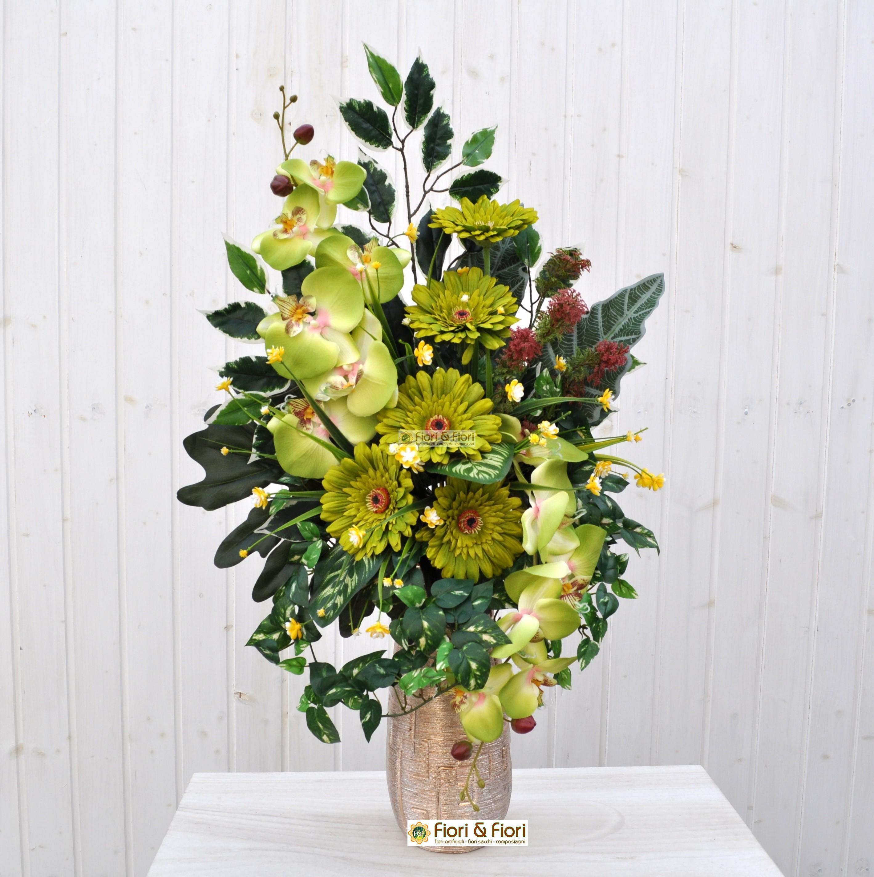 Bien-aimé Bouquet fiori artificiali gerbera verde per cimitero FM22