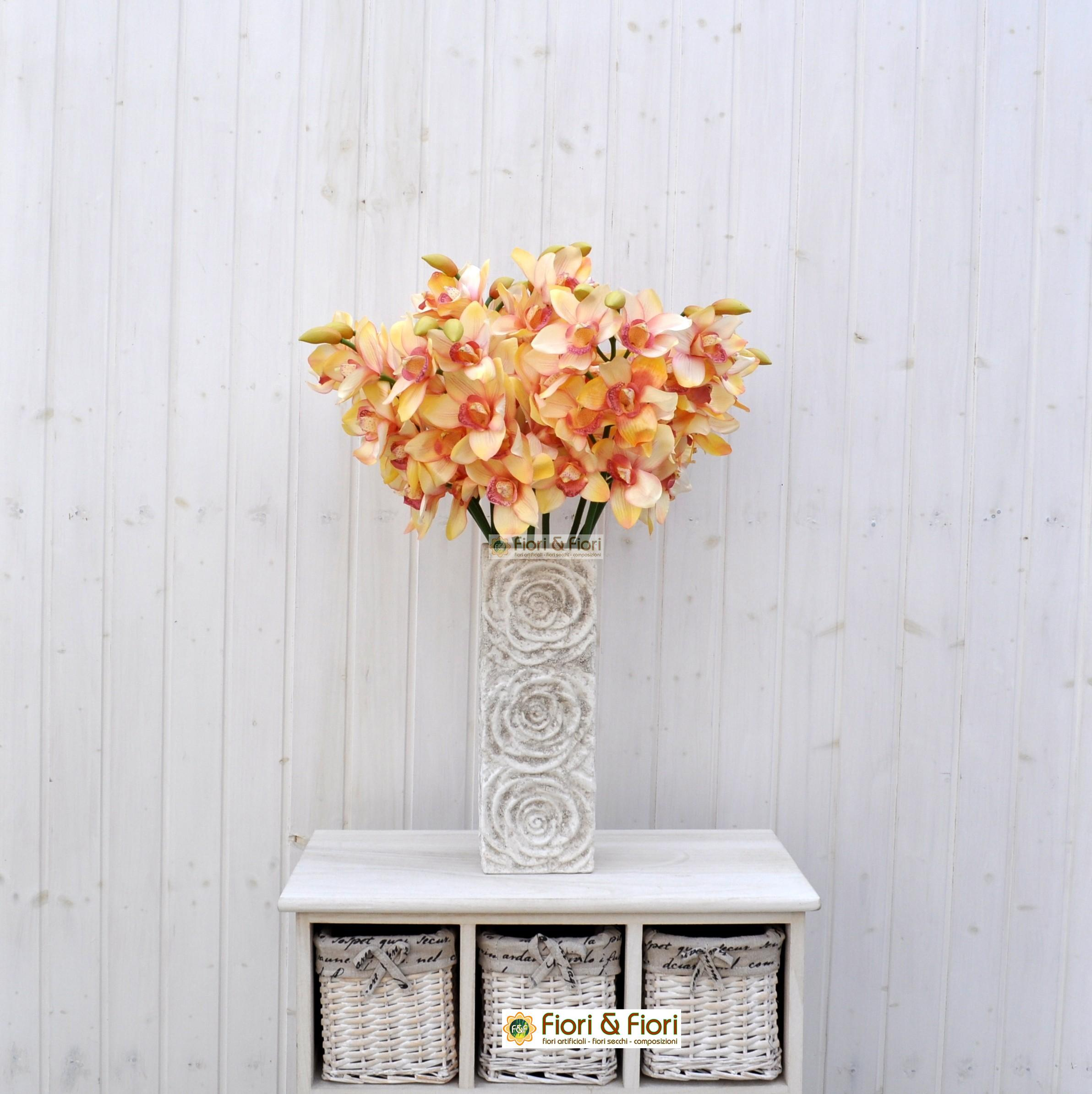 Fiore artificiale orchidea cymbidium elegant salmone for Orchidea finta