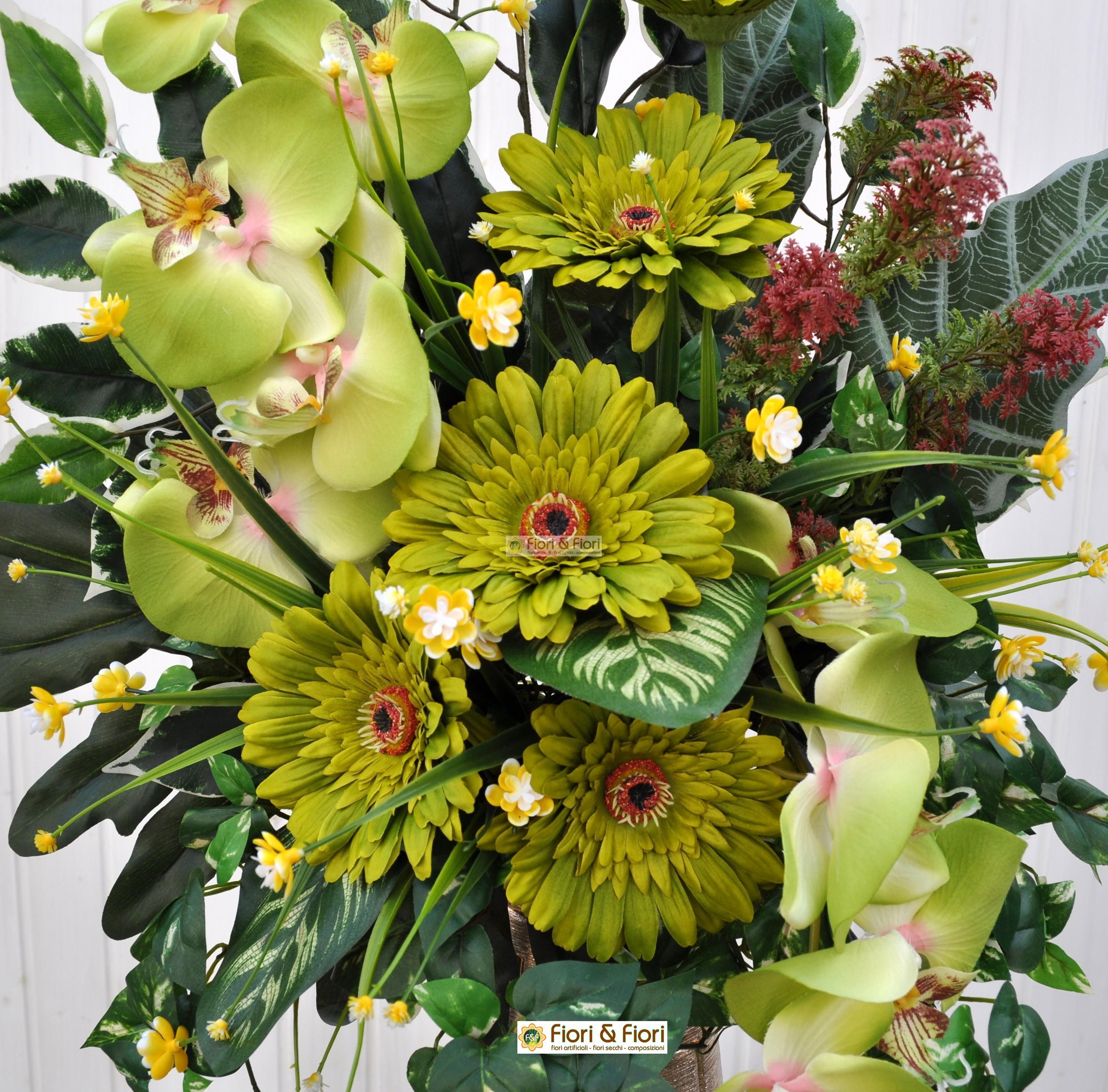spesso Bouquet fiori artificiali gerbera verde per cimitero YA72