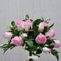 Bouquet fiori artificiali rosa gioia rosa