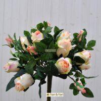 Bouquet fiori artificiali rosa gioia salmone