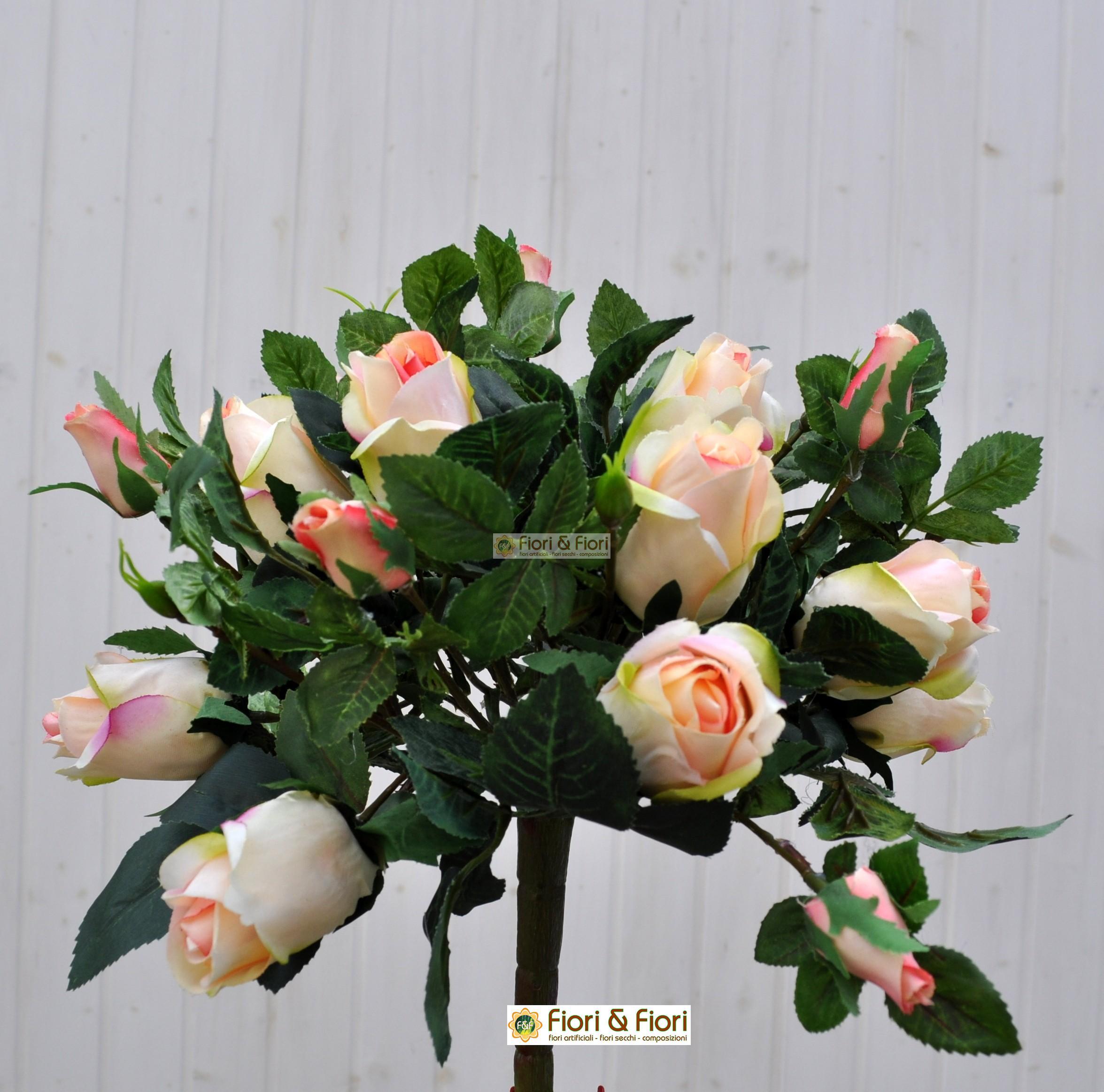 Bouquet fiori artificiali rosa gioia salmone per arredamenti for Fiori artificiali