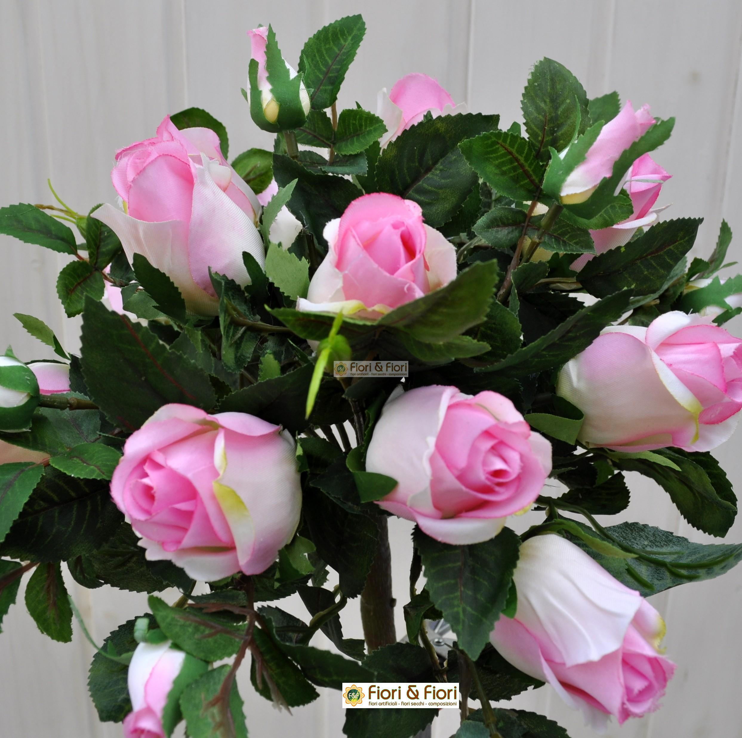 Bouquet fiori artificiali rosa gioia rosa per arredamenti for Fiori artificiali