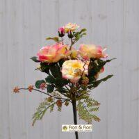 Bouquet fiori artificiali rosa canina giallo