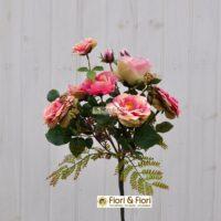 Bouquet fiori artificiali rosa canina rosa
