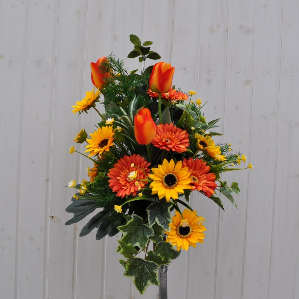 Bouquet fiori artificiali summer orange per cimitero for Composizioni fiori finti per arredamento