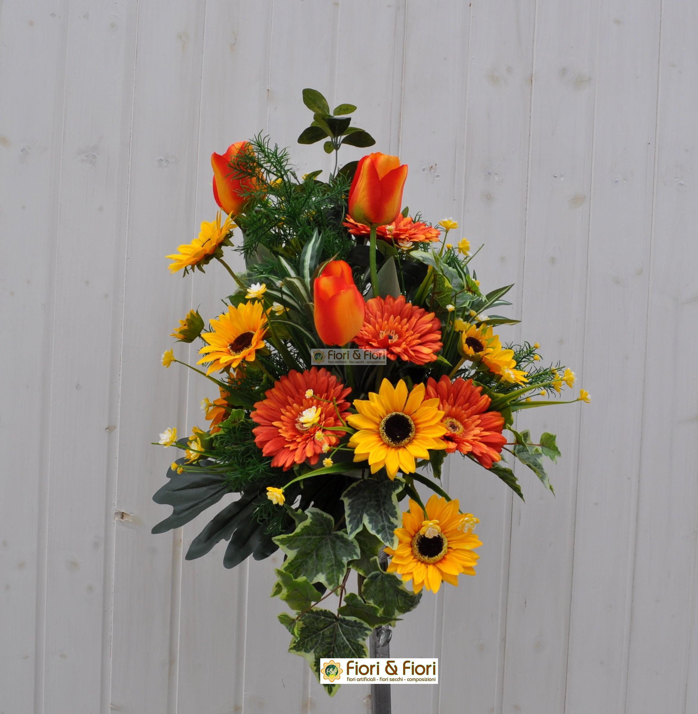 Bouquet fiori artificiali summer orange per cimitero for Fiori artificiali